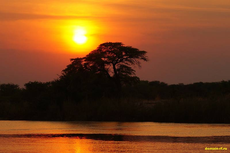 африка, закат, пейзаж