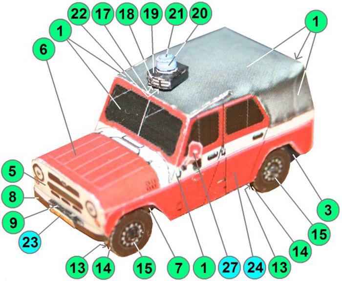УАЗ 469, 3 варианта, модель из бумаги, музей на столе