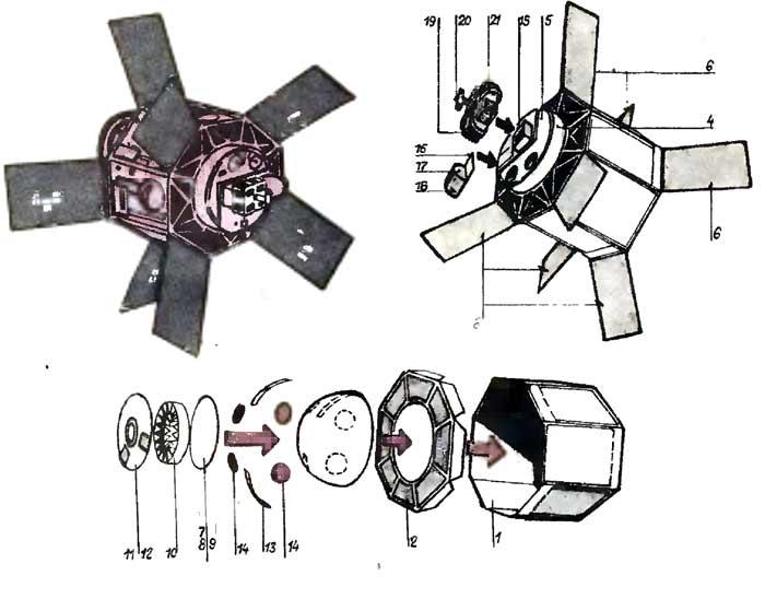 Искусственный спутник «Интеркосмос-18», модель из бумаги, музей на столе