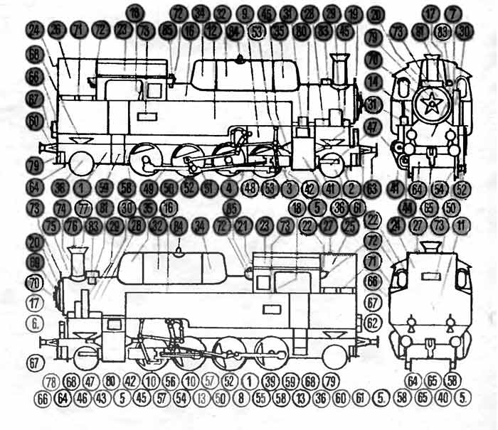 Паровоз локомотив ОВ, модель из бумаги, музей на столе