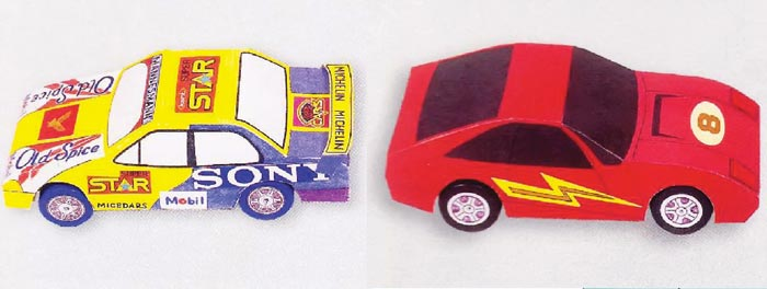 Гоночные автомобили, модель из бумаги