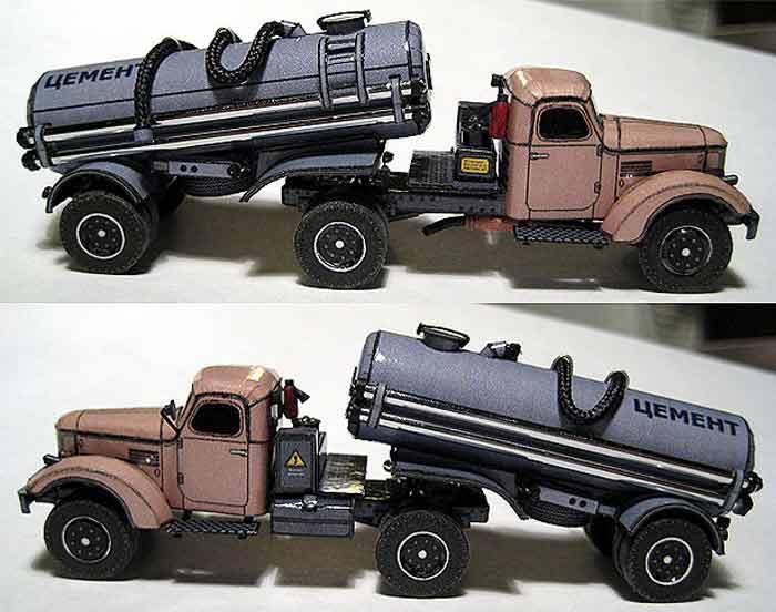ЗИЛ 164, грузовик, цементовоз, модель из бумаги, музей на столе