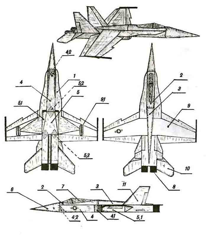 F/А-18 «Хорнет», Шершень, летающая модель из бумаги, музей на столе