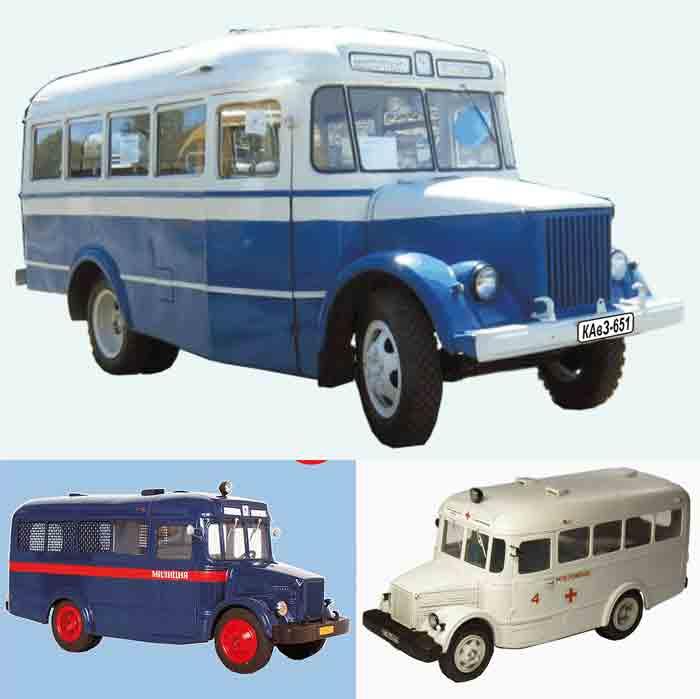 КАВЗ 651, автобус, модель из бумаги, музей на столе