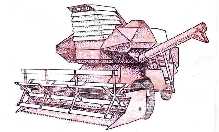 Комбайн Колосс СК-6, музей на столе, модель из бумаги