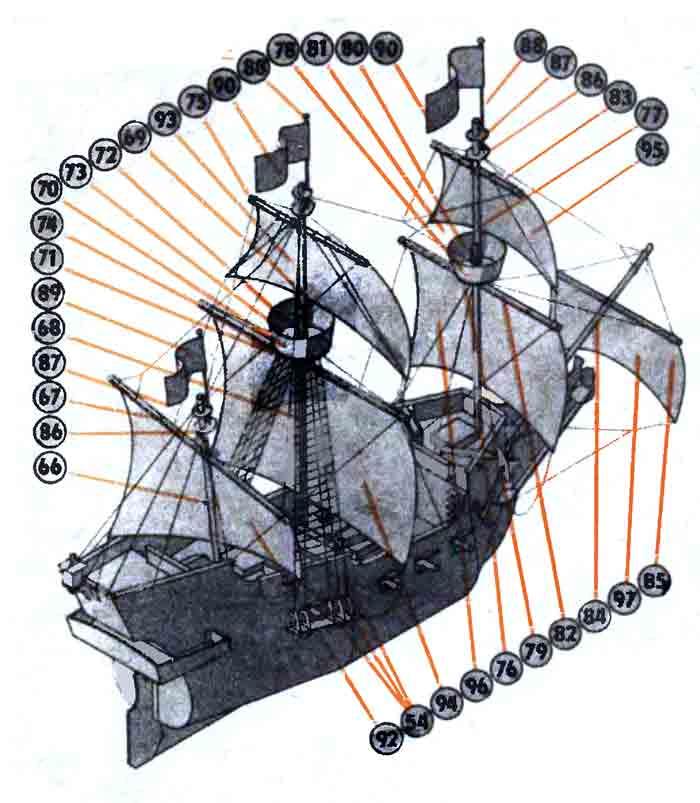 Пиратский галеон, модель из бумаги, музей на столе