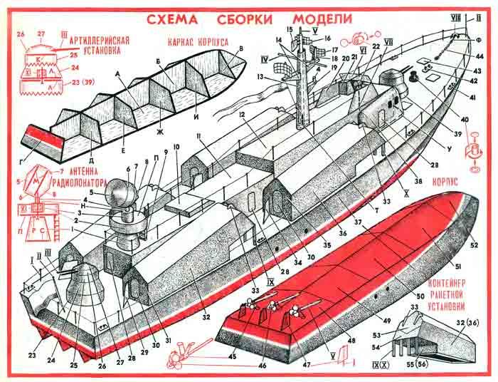 Ракетный катер, модель из бумаги, музей на столе