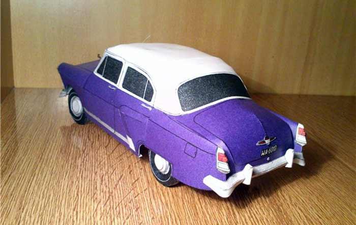 ГАЗ 21, модель из бумаги, музей на столе, 2 варианта