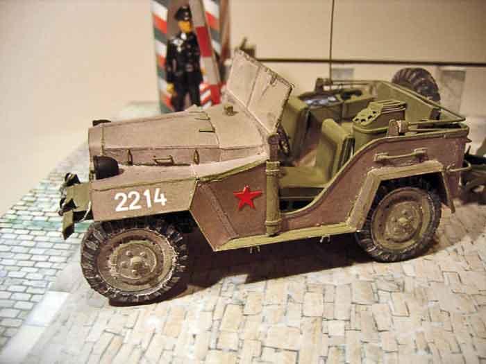 ГАЗ 67, модель из бумаги, музей на столе, 2 варианта