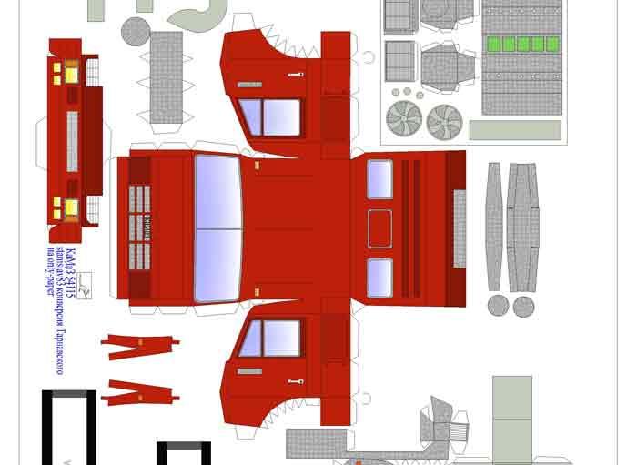 Камаз 5411, модель из бумаги, музей на столе