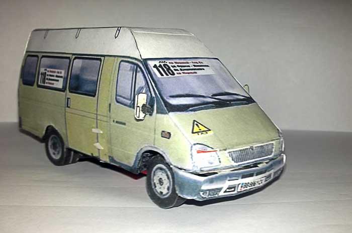 ГАЗ 2705, Газель, Автобус, модель из бумаги, музей на столе