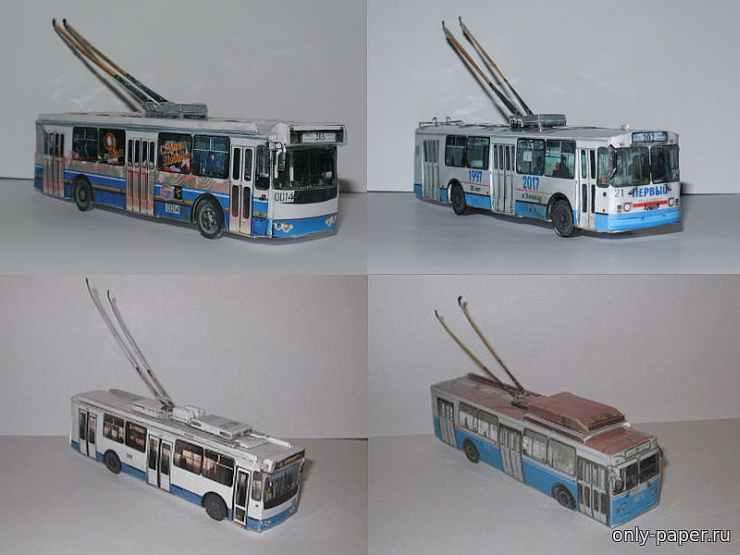Троллейбус, модель из бумаги, музей на столе
