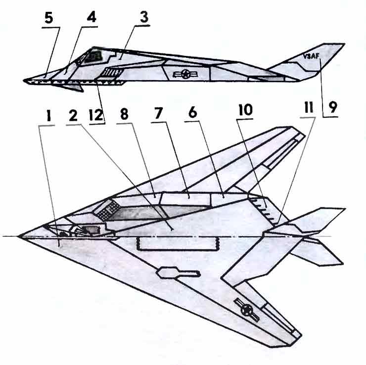 F-117A -Самолет-невидимка, модель из бумаги, музей на столе