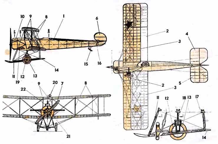 «АВРО-504» — первый боевой самолёт, музей на столе, модель из бумаги