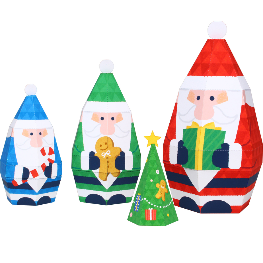 Матрёшка Дед Мороз, модель из бумаги