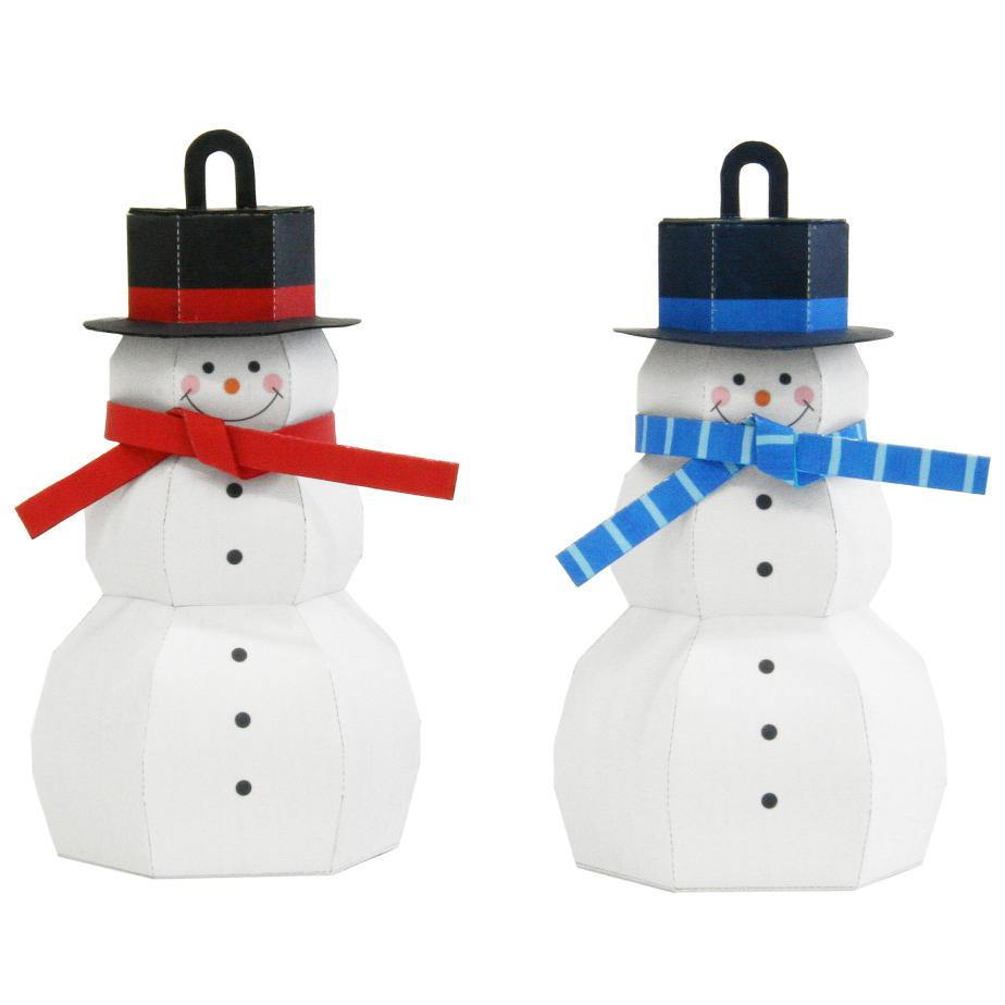 Снеговики под ёлку, поделка из бумаги