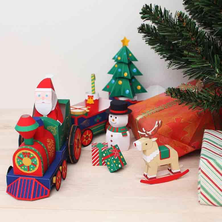 Новогодний паровоз, игрушка под ёлку, модель из бумаги