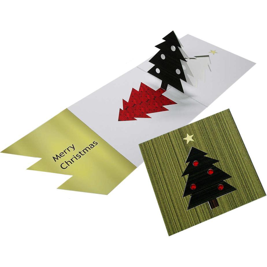 Объёмная новогодняя открытка с ёлкой