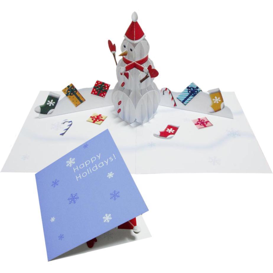 Объёмная новогодняя открытка Снеговик