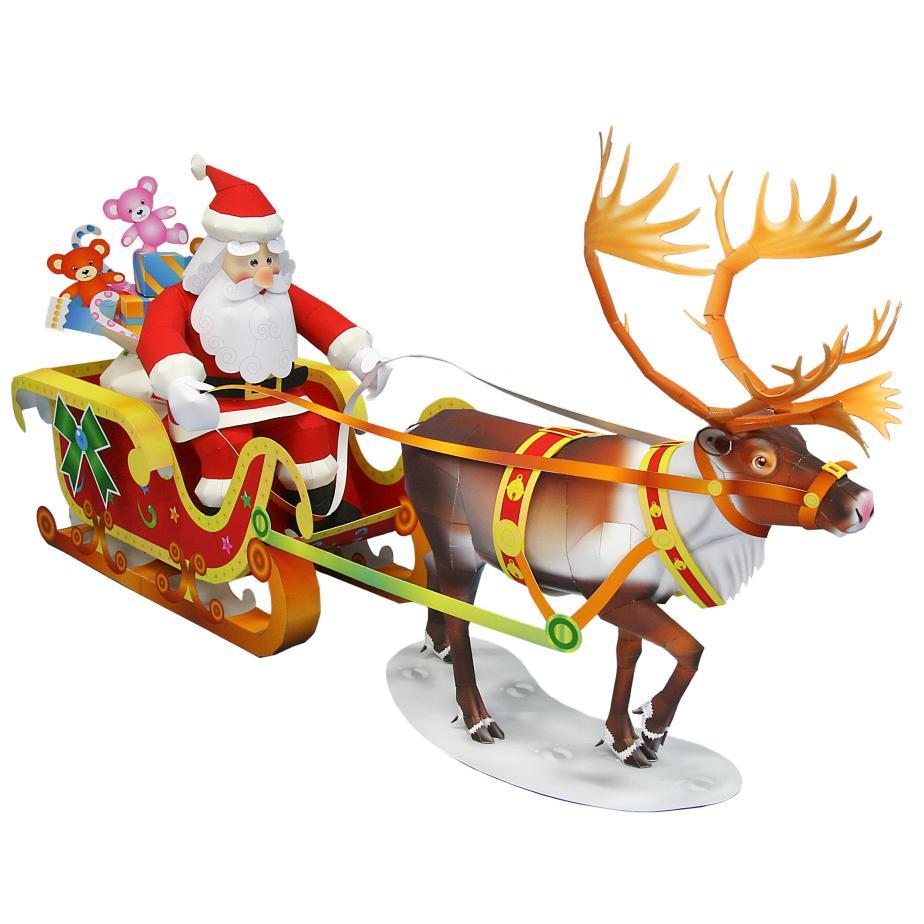Дед Мороз с оленем из бумаги
