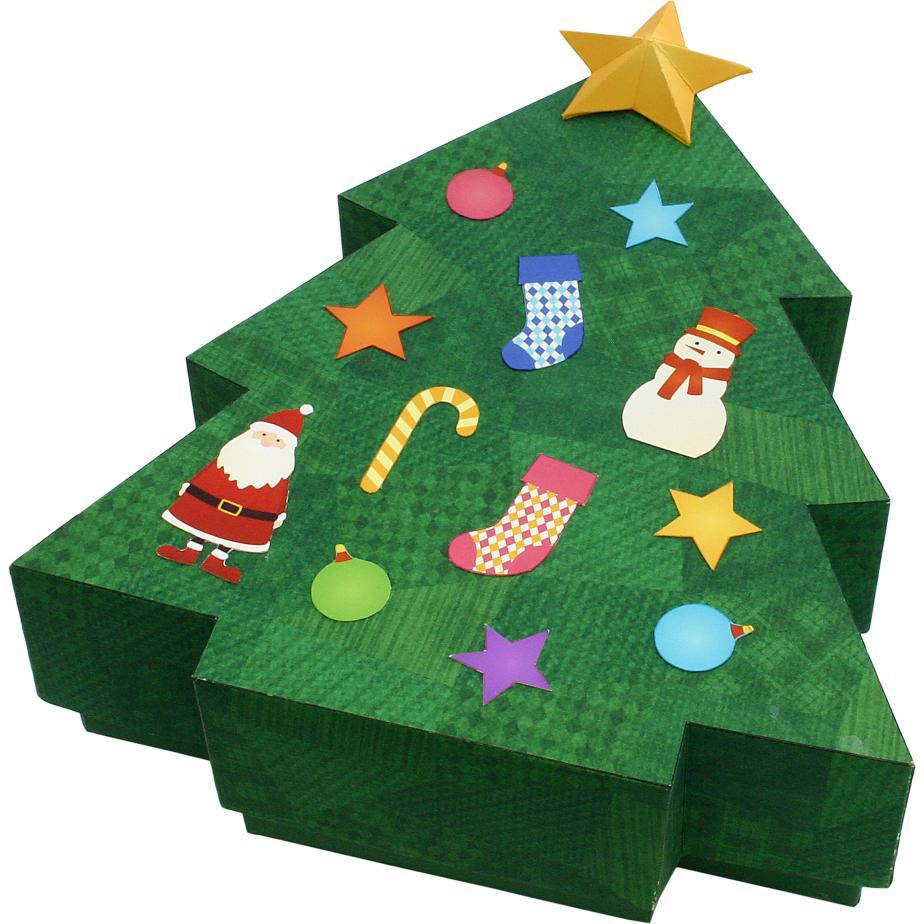 Новогодняя ёлка, коробка для подарка своими руками из бумаги