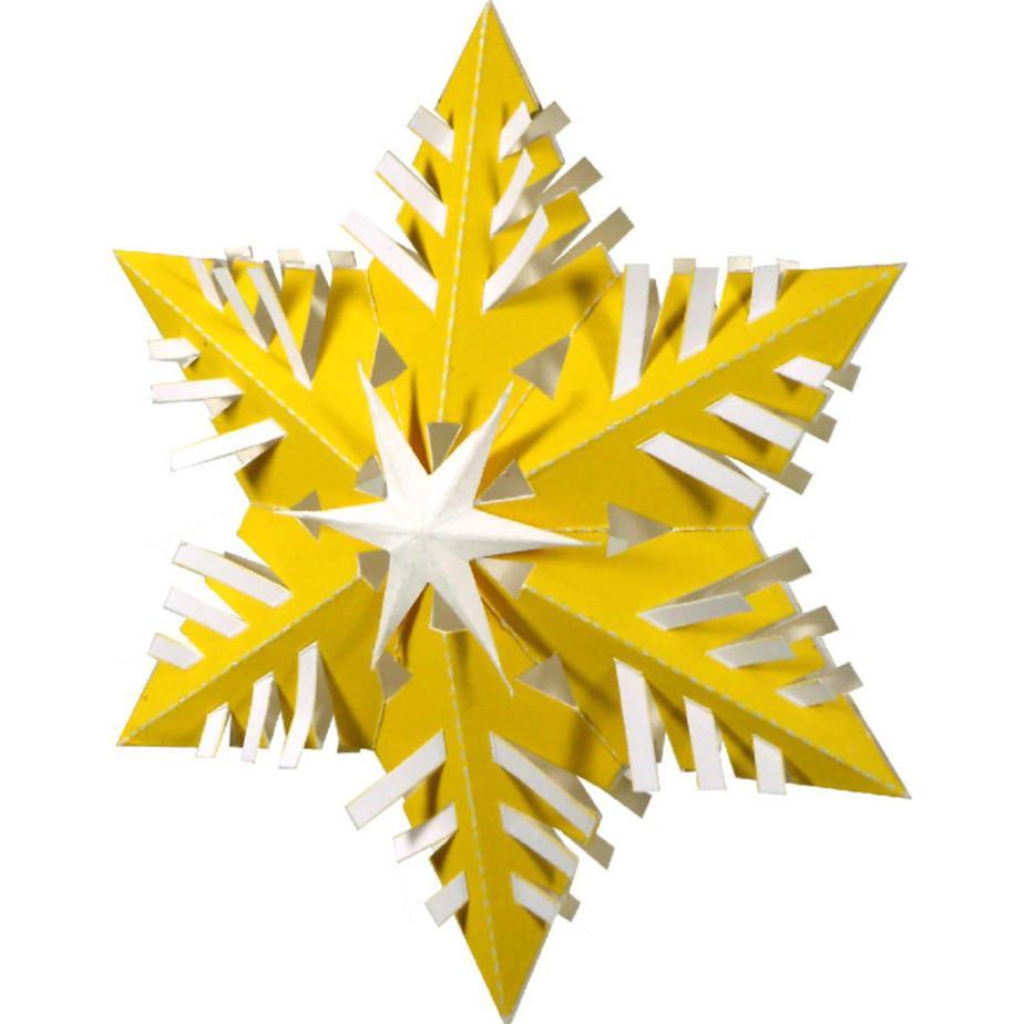 новогодняя ёлочная снежинка из бумаги (жёлтая)