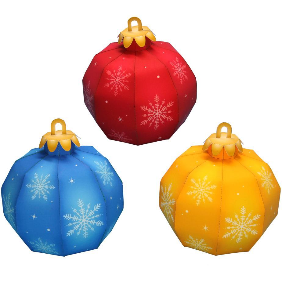 Новогодние шары из бумаги, украшения на ёлку