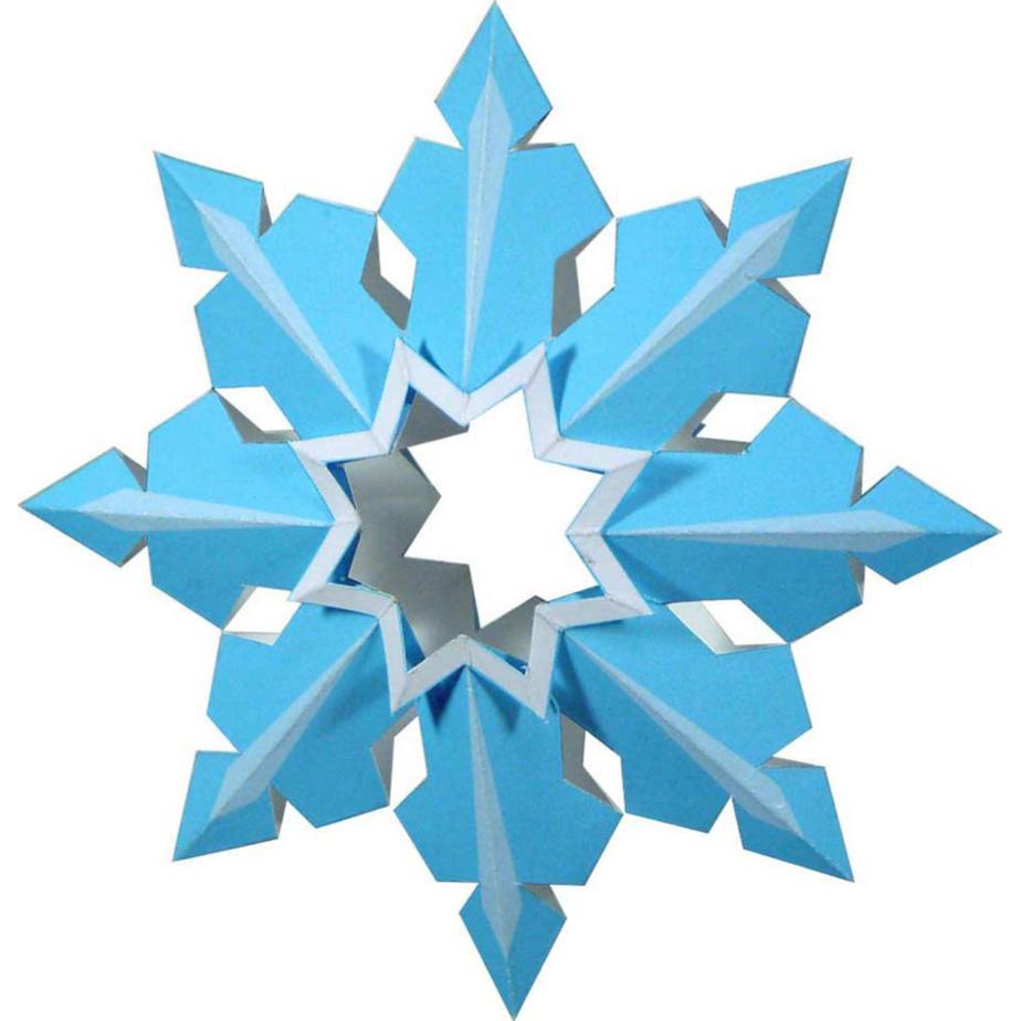 Ёлочная игрушка, объёмная снежинка из бумаги