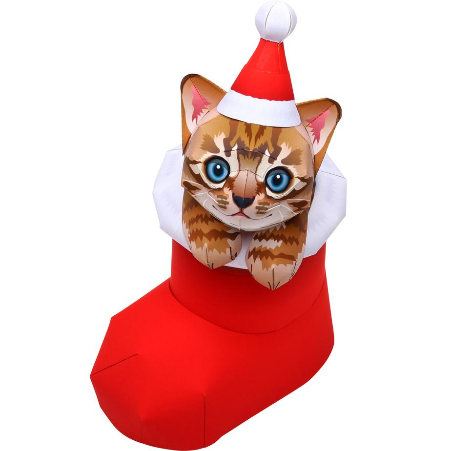 Новогодний котёнок в валенке Деда Мороза из бумаги