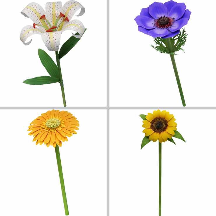 Лилия, анемон, гербера, подсолнух, цветы из бумаги
