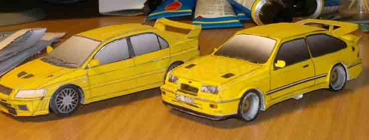 Форд Сиэрра, музей на столе, модель из бумаги