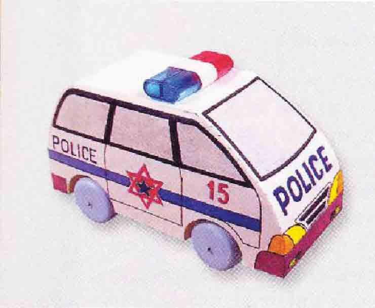 Полицейский микроавтобус, модель для сборки детьми из бумаги