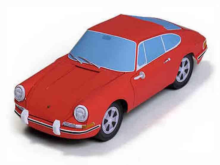 Порше 928, модель из бумаги, музей на столе