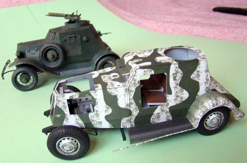 Броневик Д-8, модель из бумаги, музей на столе