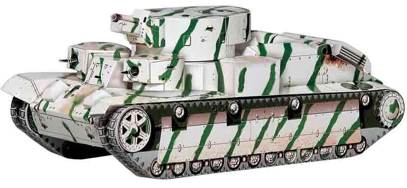 Танк Т-28, модель из бумаги, музей на столе
