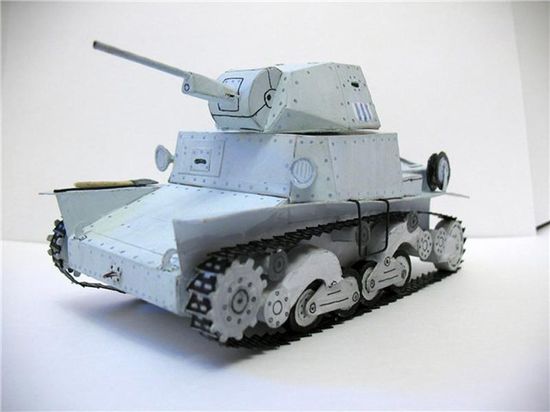 Carro Armato L6/40, танк, модель из бумаги, музей на столе