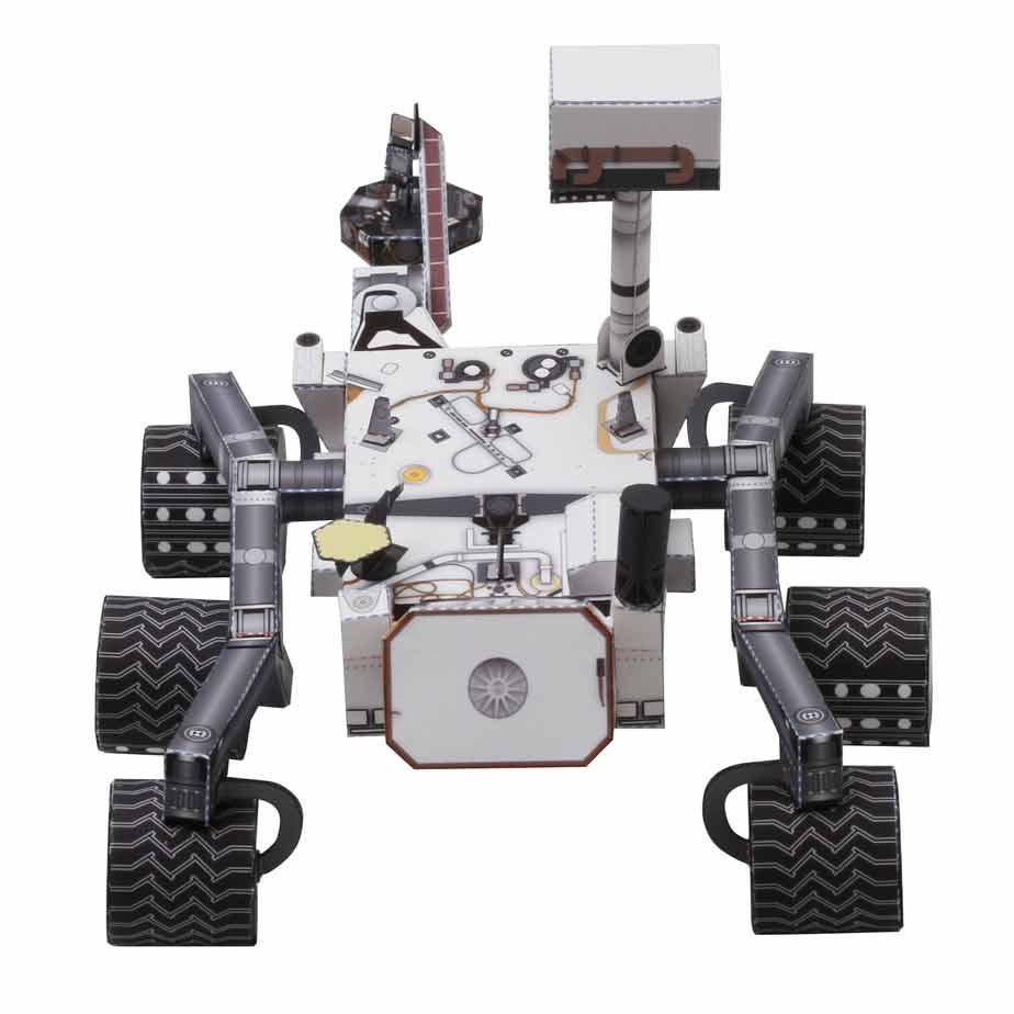 """Марсоход """"Кьюриосити"""", модель из бумаги, музей на столе"""