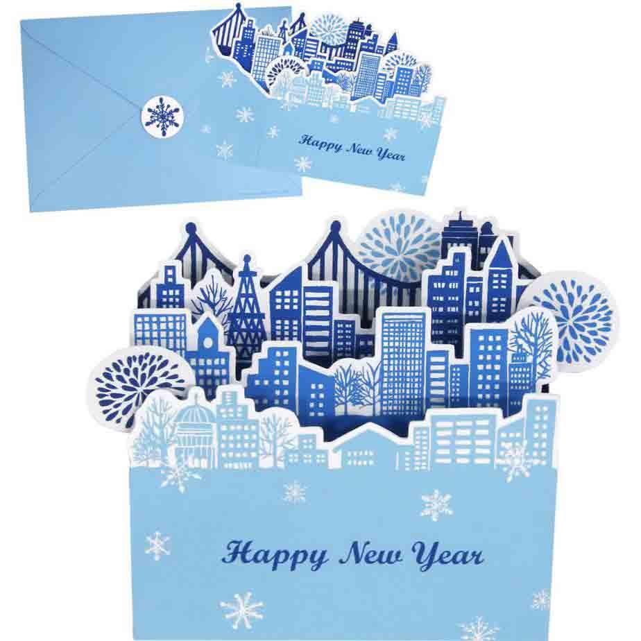 Новогодний город, набор новогодних открыток из бумаги