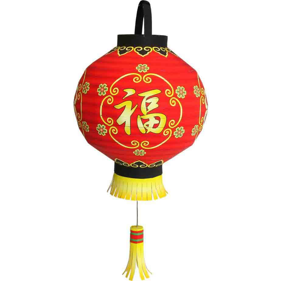 Новогодний китайский фонарик на ёлку, поделка из бумаги, приносит удачу