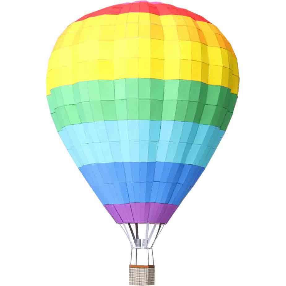 Воздушные шары разной расцветки, 5 шаров, модель из бумаги, музей на столе