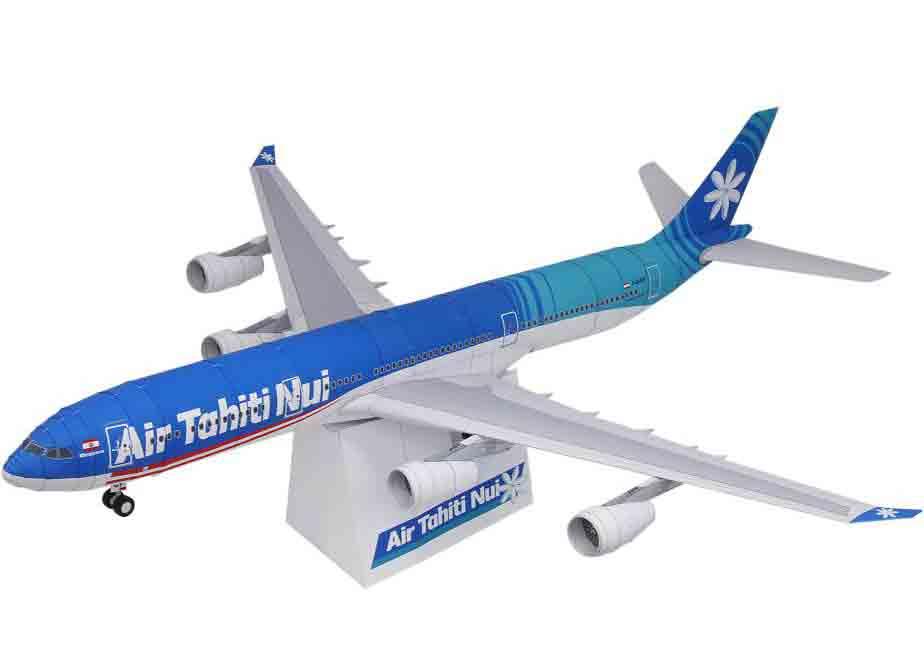 Самолет Air Tahiti Nui, AIRBUS A340-300, модель из бумаги, музей на столе
