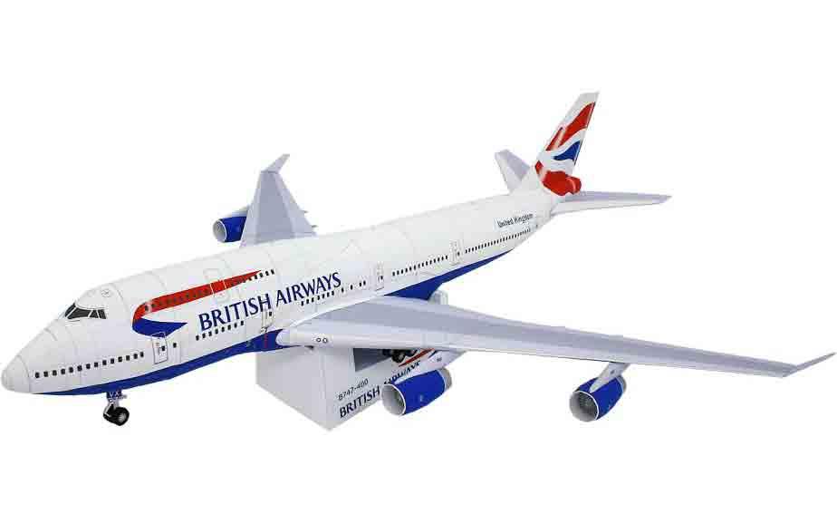 British Airways, Boeing747-400, самолет, музей на столе, модель из бумаги