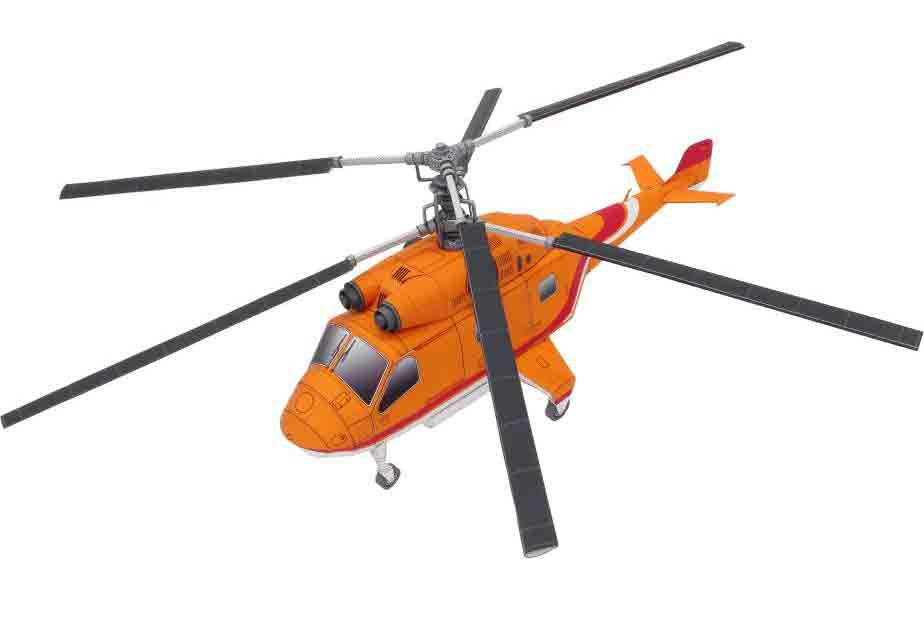 Вертолет двухвинтовой,модель из бумаги, музей на столе