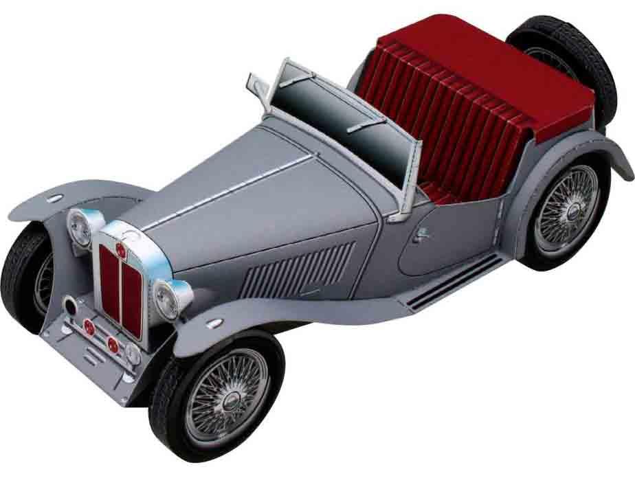 Легковой автомобиль MG TC Midget, модель из бумаги, музей на столе