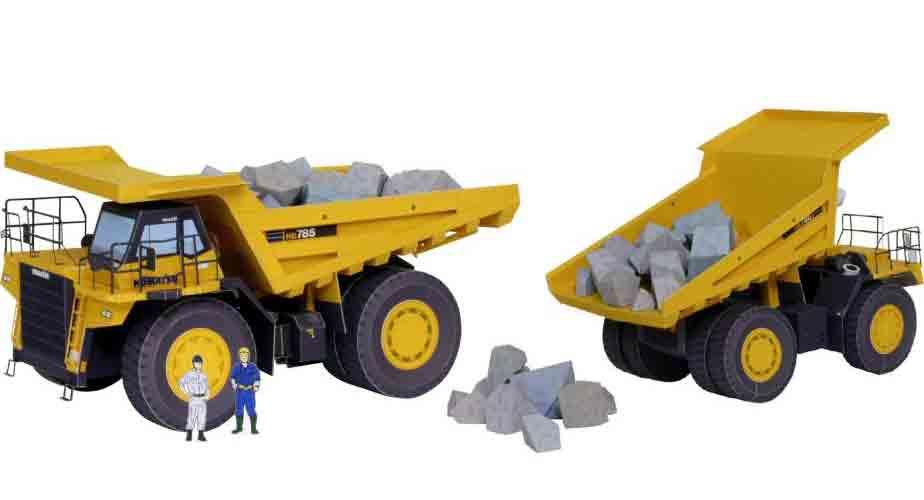 Самосвал, Белаз, модель из бумаги, музей на столе, грузовик