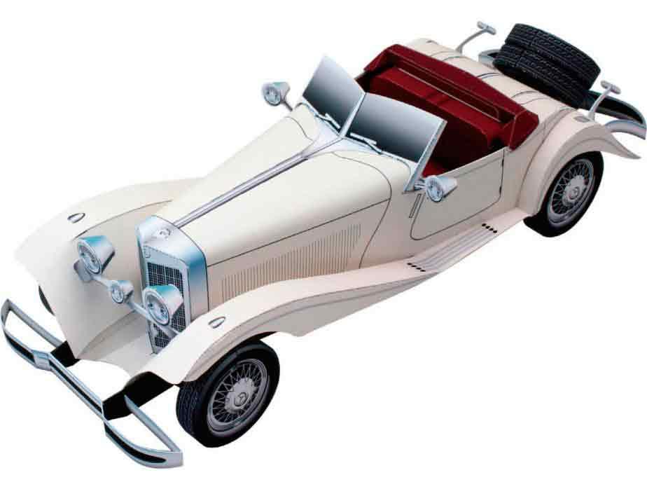 Mercedes Benz 500K, легковой автомобиль, музей на столе, модель из бумаги
