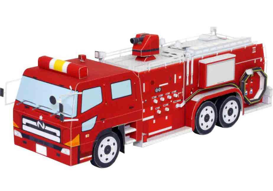 Пожарный атомобиль, музей на столе, модель из бумаги