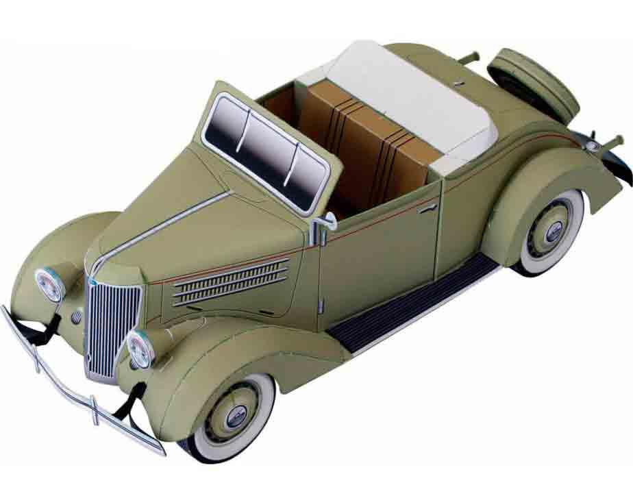 Кабриолет Ford, модель из бумаги, музей на столе
