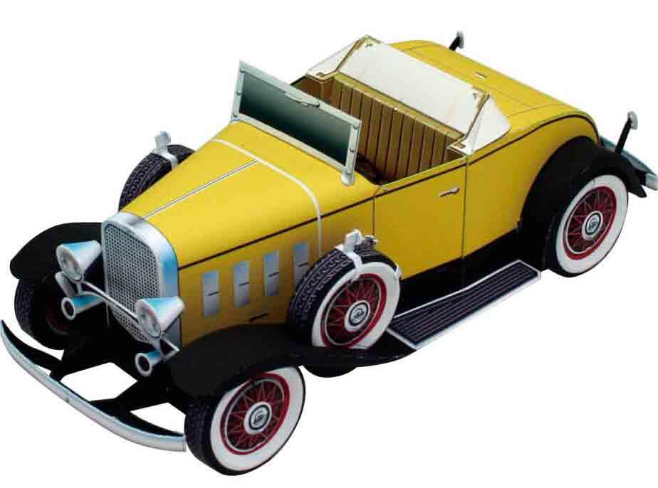 Автомобиль Chevrolet Confederate Deluxe Sports Roadster, модель из бумаги, музей на столе