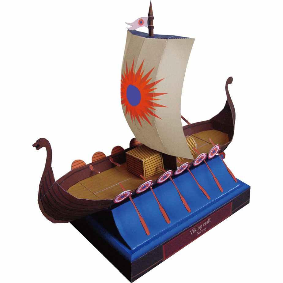 Лодка викингов, музей на столе, модель из бумаги